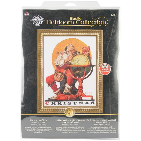 Heirloom Collection Santa At The Globe Counted Cross Stitch - 14 X18-1/2