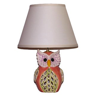 Peach with Green Owl Lamp with Linen Shade