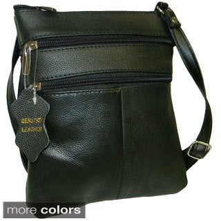 Hollywood Tag Leather Double Compartment Crossbody Bag