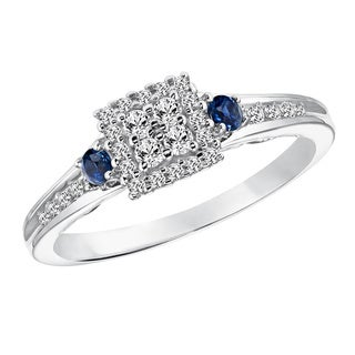 Cambridge Sterling Silver 1/5ct TDW Diamond and Blue Sapphire Ring (I-J, I2-I3)
