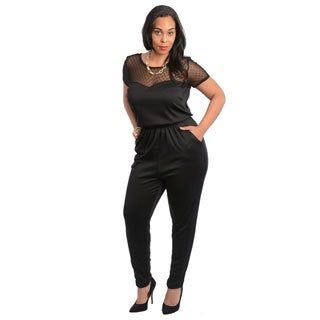 Stanzino Women's Plus Size Black Short Sleeve Jumpsuit