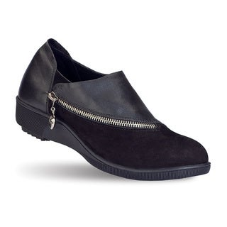 Women's 'Evelin' Black Leather Slip-on Comfort Shoes
