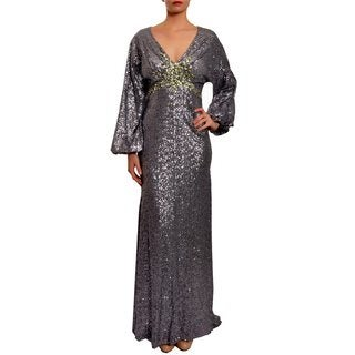 Mac Duggal Gunmetal Sequin-embellished Formal Evening Gown