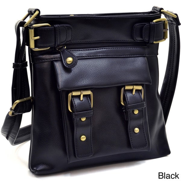 Double Belted Messenger Crossbody Bag