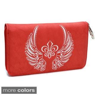 Ustyle Western Fleur de Lis and Wings Emblem Wallet