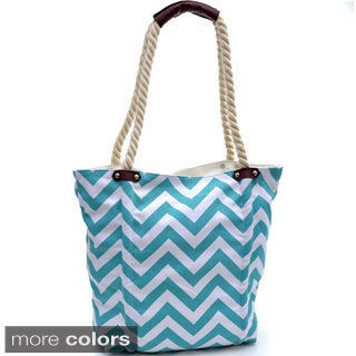 Large Chevron Canvas Tote Bag