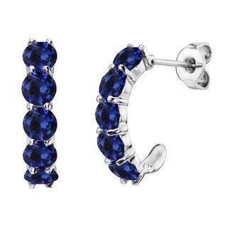 Sterling Silver Gemstone J-Hoop Earrings