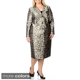 Danillo Women's Plus Size Abstract Printed Skirt Suit