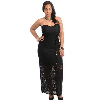 Stanzino Women's Plus Size Black Strapless Long Dress