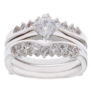Simon Frank Silver Overlaid Dutchess 2-piece CZ Classic Bridal Set