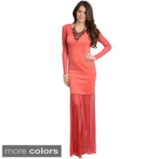 Stanzino Women's Long Sleeve Evening Maxi Dress