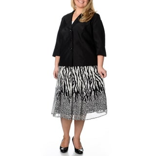 Danillo Women's Plus Size Mixed Animal Print 2-piece Skirt Suit