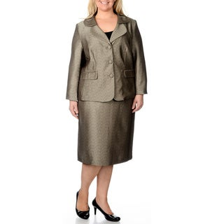 Danillo Women's Plus Size Champagne/ Black Textured Skirt Suit