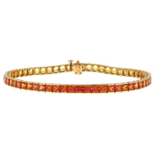 14k Yellow Gold 12 1/2ct TGW Orange to Yellow Sapphire Bracelet