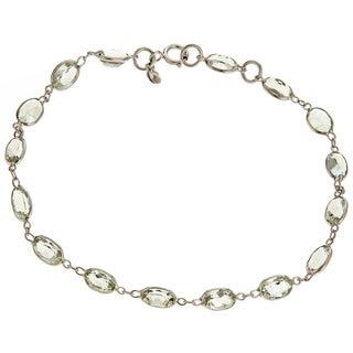 14k White Gold 7ct TGW Green Amethyst Bracelet