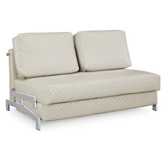 Serta St. Martin Ivory Bonded Leather Convertible Sleeper Sofa