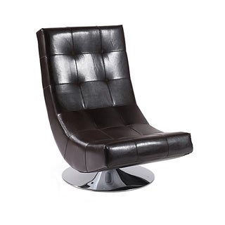 Mario Brown Bonded Leather Armless Swivel Club Chair
