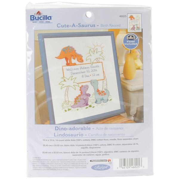 Cuteasaurus Birth Record Counted Cross Stitch Kit - 10 X13  14 Count 12600292
