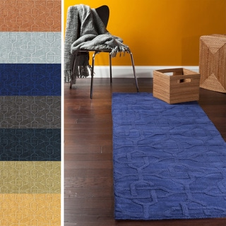 Hand-loomed Bangor Casual Solid Geometric Wool Area Rug (2'6 x 8')