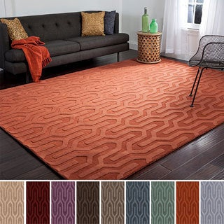 Hand-loomed Metz Solid Tone Geometric Wool Area Rug (5' x 8')