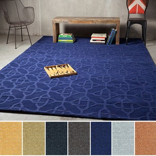 Hand-loomed Honor Casual Solid Tone Geometric Wool Area Rug (2' x 3')