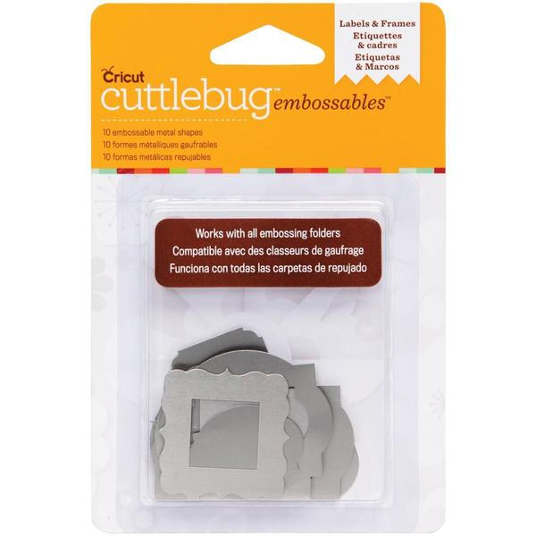 Cuttlebug Embossables Metal Shapes 10/Pkg - Labels & Frames, Silver