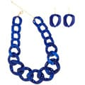 NEXTE Jewelry Lucite Cuban Necklaces Marbled Blue with Bonus Matching Earrings
