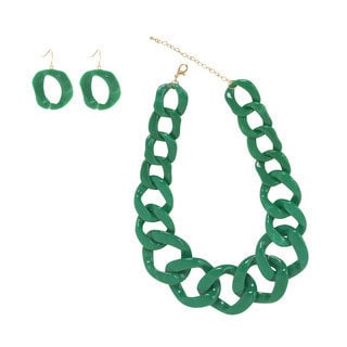 NEXTE Jewelry Lucite Cuban Necklace Marble Green with Bonus Earrings