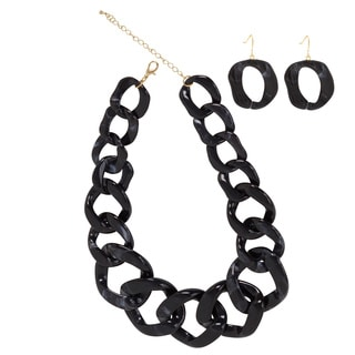NEXTE Jewelry Lucite Marbled Black Cuban Necklace with Bonus Earrings