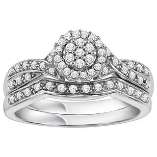 Cambridge 1/3ct TDW Sterling Silver Diamond Bridal Set (I-J, I2-I3)