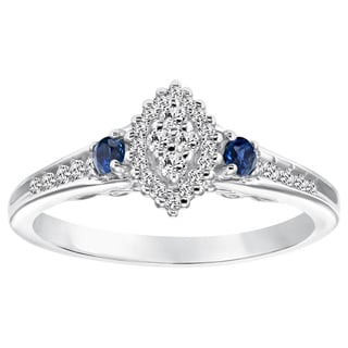 Cambridge Sterling Silver 1/5ct TDW Diamond and Blue Sapphire Marquise Diamond Ring (I-J, I2-I3)