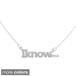 "Amanda Marmer Sterling Silver Inspirational Words ""Iknow"" Diamond Accent Necklace"