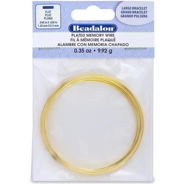 Flat Memory Wire Large Bracelet .048 X.020 .35oz - Gold