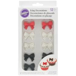 Royal Icing Decorations 12/Pkg - Black, Red & White Bows