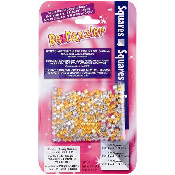 Be Dazzler Stud Refill 200/Pkg - Squares Gold & Silver