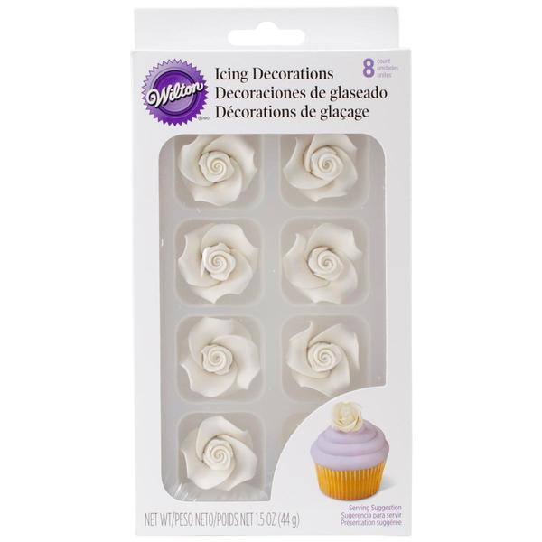 Icing Roses 8/Pkg - Medium White