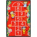 Red Children's Playground Design Area Rug (5' x 6'6)