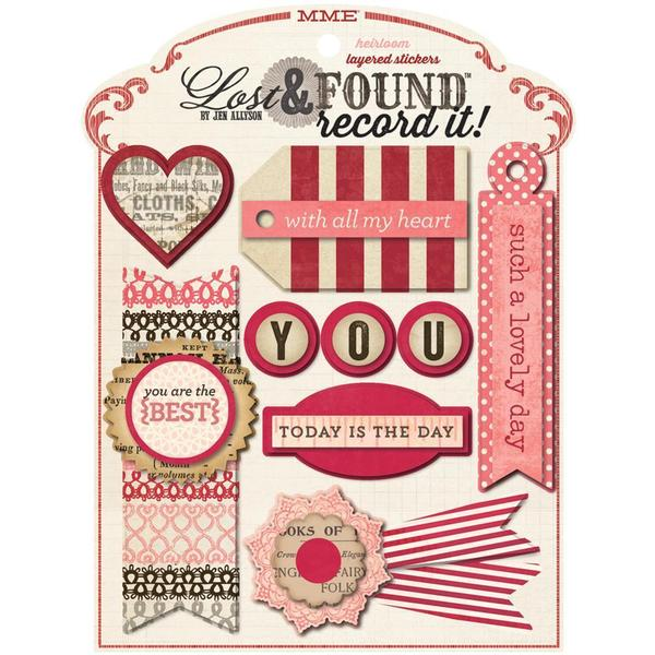 Lost & Found Record It! Layered Stickers - Heirloom