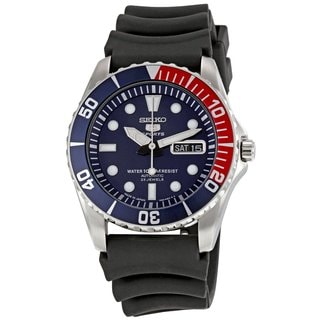 Seiko Men's 5 Sports Automatic Black Rubber Strap Watch