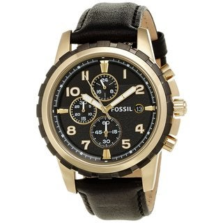 Fossil Men's Dean Black Leather Chronograph Watch