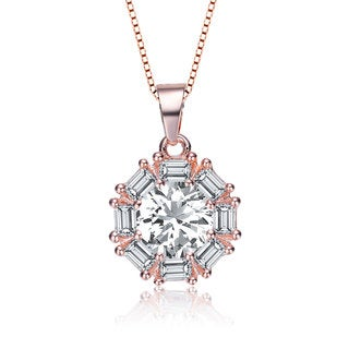 Collette Z Rose Plated Sterling Silver Cubic Zirconia Round Necklace