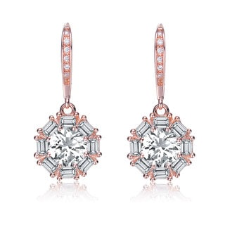 Collette Z Rose Plated Sterling Silver Cubic Zirconia Round Dangling Earrings