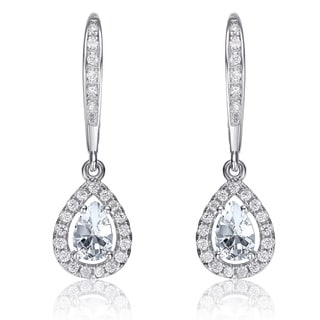 Collette Z Sterling Silver White Cubic Zirconia Pear-shape Dangling Earrings