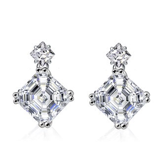Collette Z Sterling Silver White Cubic Zirconia Square Asscher-cut Drop Earrings