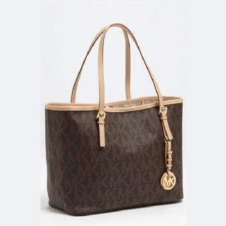 Michael Kors Jet Set Medium PVC Logo Travel Tote - Brown
