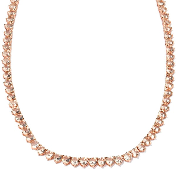 Meredith Leigh Bronze Pink Glass Tennis Necklace