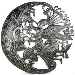 Handcrafted Angel and Moon Metal Wall Art (Haiti)