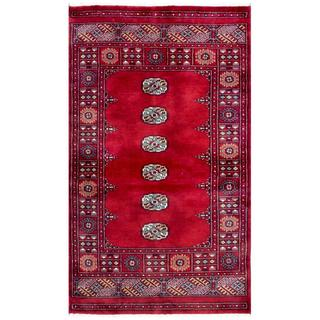 Pakistani Hand-knotted Bokhara Red/ Ivory Wool Rug (3'2 x 5'2)