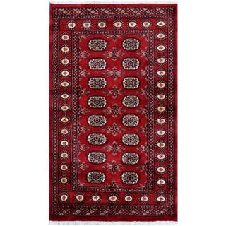 Pakistani Hand-knotted Bokhara Red/ Ivory Wool Rug (2'11 x 5'1)