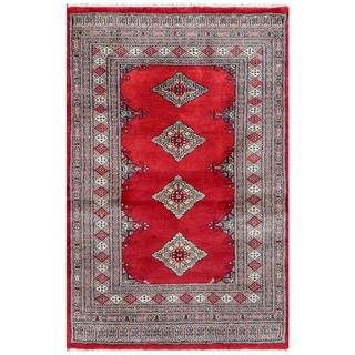 Pakistani Hand-knotted Bokhara Red/ Ivory Wool Rug (3' x 4'8)